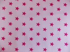 White with 20mm Cerise Stars 100% Cotton Fabric